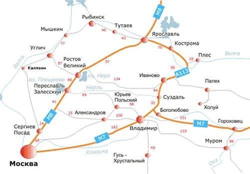 Схема дорог Золотого кольца